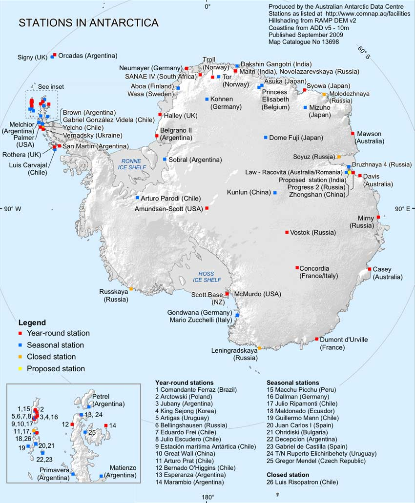 French Colonies Adelie Coast Terre Adelie - Antarctic research stations map