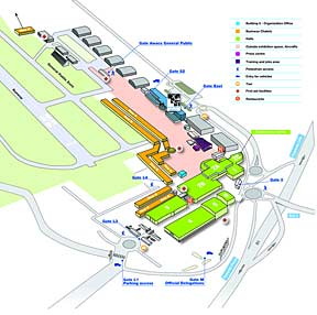 Map of the 2013 Paris Air Show facilities.