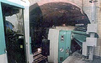Line 12 metro car on its side.
